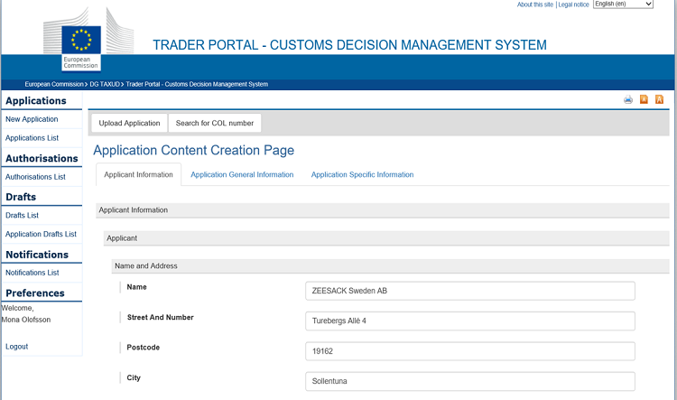 Sidan Application Content Creation Page